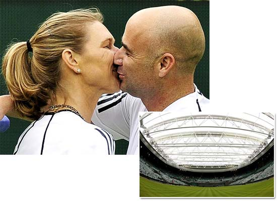 Andre Agassi kisses his wife and partner Steffi Graf