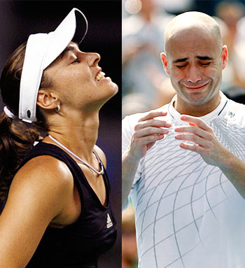 Martina Hingis (left) and Andre Agassi