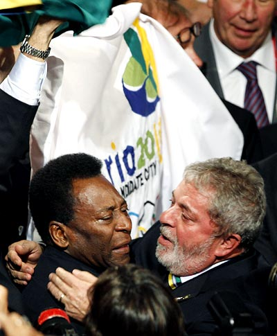 Lula and Pele embrace after Rio won the race to host the 2016 Olympics, October 2, 2009. Photograph: Reuters