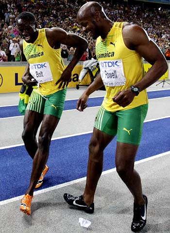 Usain Bolt (left) with Asafa Powell