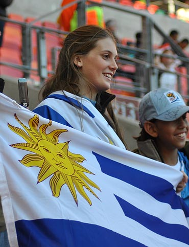 An Argentinian fan at the match between Argentina and Mexico
