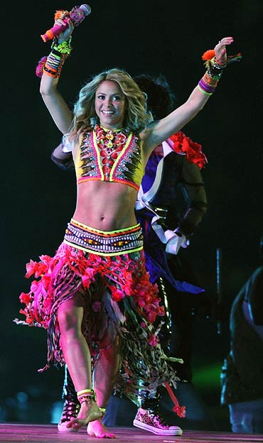 Colombian singer Shakira performs during the closing ceremony
