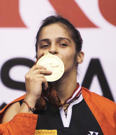 Saina Nehwal with her Indonesian Open gold medal