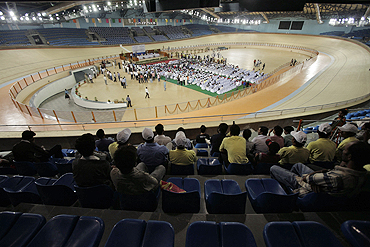 A view of the indoor cycling velodrome constructed for the 2010 New Delhi Commonwealth Games
