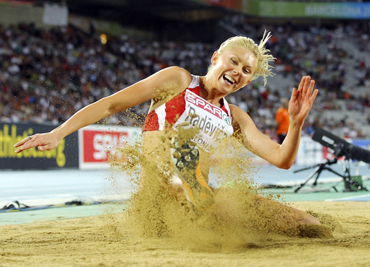 Ineta Radevica from Latvia competes in the women's long jump final during the European Athletics Championships