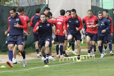 Chile players during a warm up session
