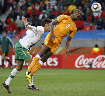 Ivory Coast's Kalou attempts a header during a 2010 World Cup Group G soccer match agains Portugal