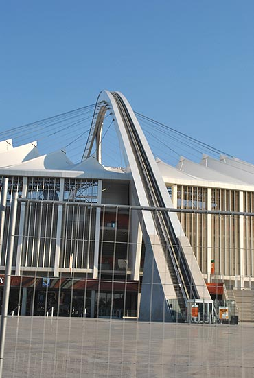 The cable cars above the Moses Mabhida stadium