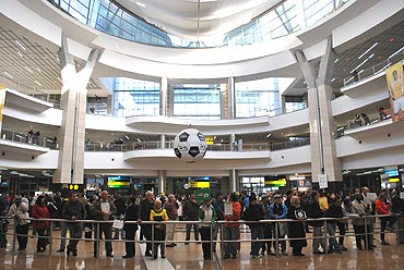 A giant football at Johannesburg airport
