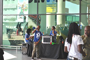 Musicians perform at Durban airport