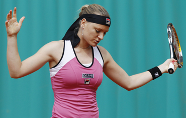 Agnes Szavay of Hungary reacts during her match against Nadia Petrova of Russia