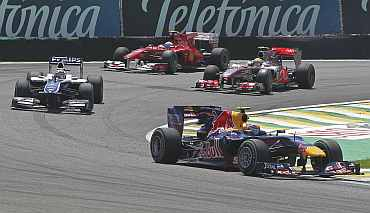 Mark Webber drives ahead during the Brazilian Grand Prix