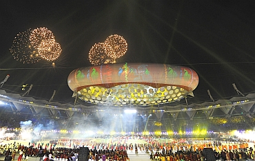 Fireworks at the opening ceremony of the Commonwealth Games at Nehru Stadium