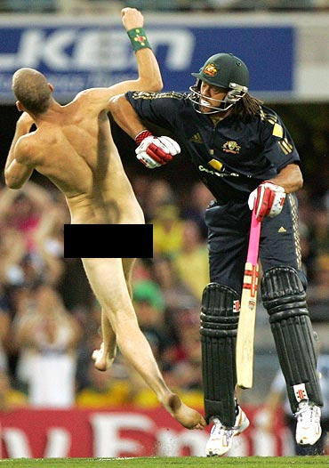 When Symonds knocked down a streaker