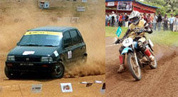 A car and bike going through the motions in autocross