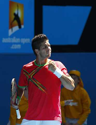 Fernando Verdasco reacts after winning his match against Janko Tipsarevic at the Australian Open