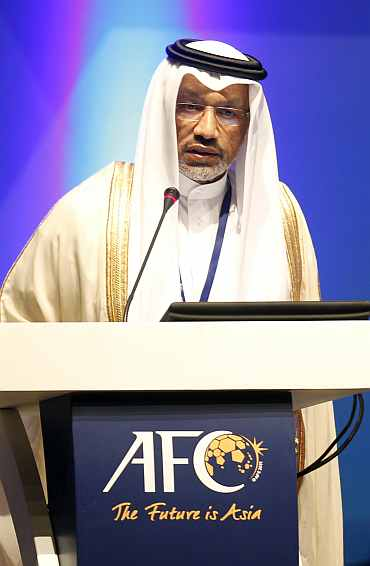 AFC President Mohamed Bin Hammam speaks during the 24th AFC congress in Doha