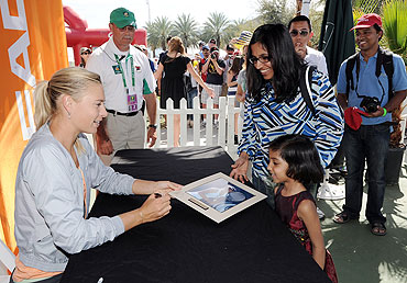Maria Sharapova signs autographs at the Tennis Warehouse during the BNP Paribas Open at the Indian Wells Tennis Garden