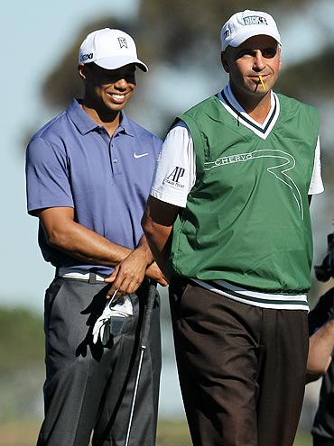 Tiger Woods with Rocco Mediate