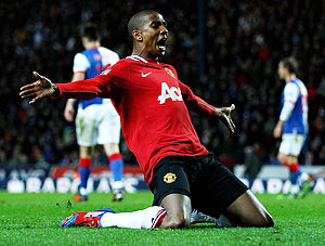 Manchester United's Ashley Young celebrates scoring his team's second goal during their EPL match against Blackburn Rovers on Tuesday