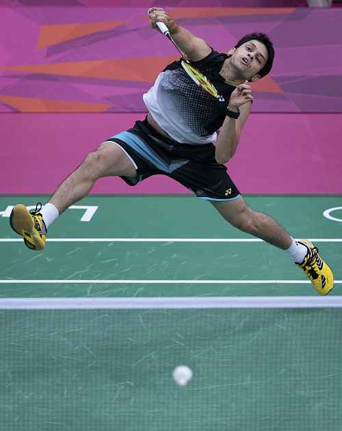 India's Kashyap Parupalli plays against Vietnam's Nguyen Tien Minh at a men's singles badminton match