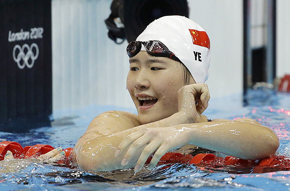 China's Ye Shiwen reacts after winning gold in the women's 200-meter individual medley swimming final
