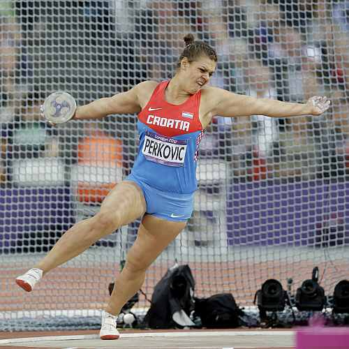 Croatia's Sandra Perkovic competes in the women's discus throw during athletics competition in the Olympic Stadium