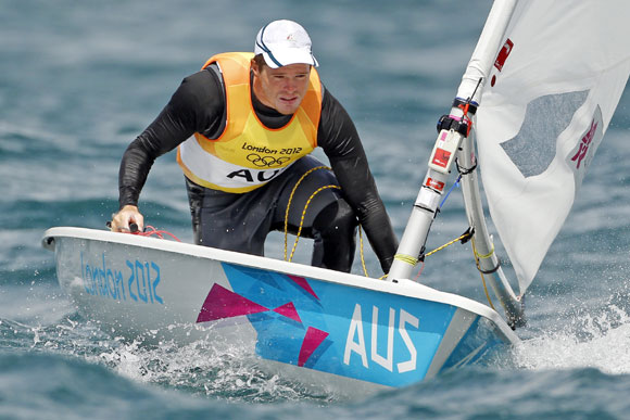 Australia's Tom Slingsby sails during the tenth race of the Laser sailing class