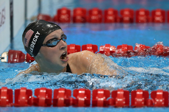 Katie Ledecky of the United States reacts after the Women's 800m Freestyle Final