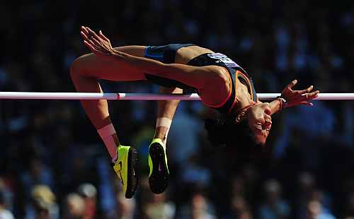 Sahana Kumari of India competes during the Women's High Jump qualification on Day 13 of the London 2012 Olympic Games