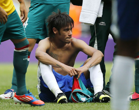 Brazil's Neymar reacts after losing their men's football gold medal match against Mexico
