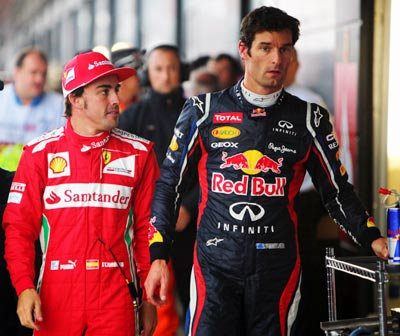 Fernando Alonso (left) with Mark Webber