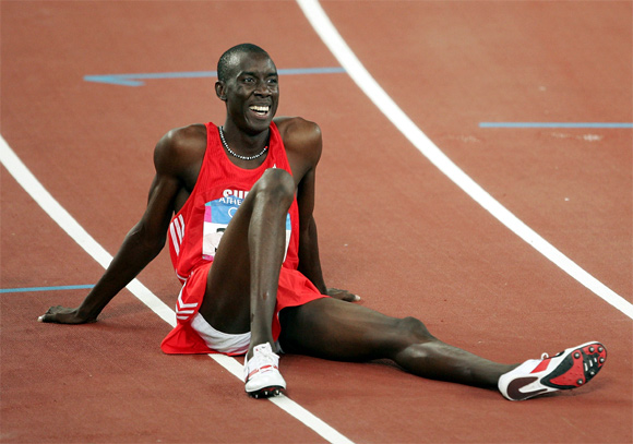 Wilson Kipketer of Denmark is seen after the men's 800 metre semifinal during the Athens 2004 Summer Olympic Games