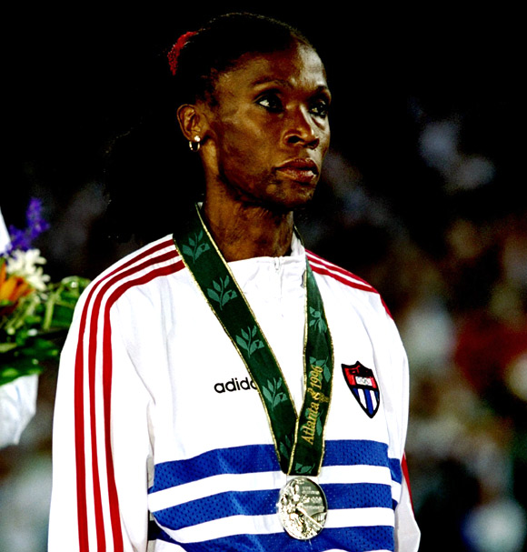 Ana Quirot of Cuba with silver medal for the womens 800 metres on the podium in the Olympic Stadium at the 1996 Centennial Olympic Games in Atlanta