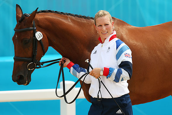Zara Phillips of Great Britain and her horse High Kingdom are paraded during an Equestrian Eventing Horse Inspection session