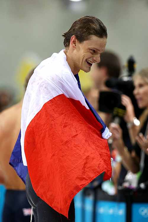 Yannick Agnel of France celebrates after he won the Final of the Men's 200m Freestyle