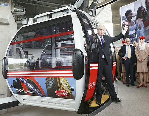 London Mayor Boris Johnson opens the Thames cable car