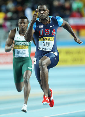 Justin Gatlin of the United States competes in the Men's 60 Metres semi-final