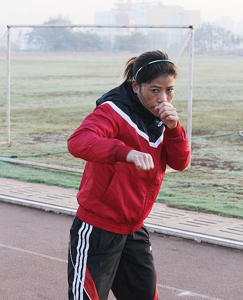 Mary Kom at the early morning training
