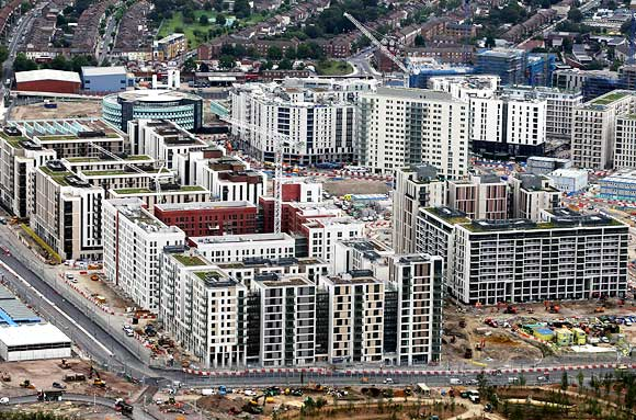 An aerial view of the athletes' village which will be used during the London 2012 Olympic Games at the Olympic Park, in Stratford, East London