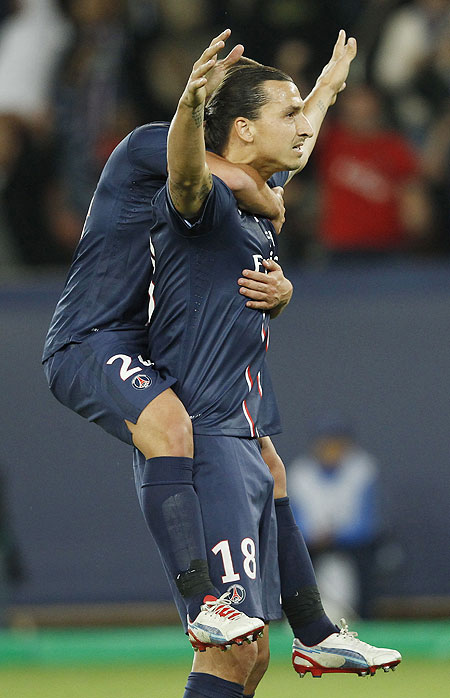 Paris St Germain's Zlatan Ibrahimovic celebrates his first goal during their Champions League match against Dynamo Kiev