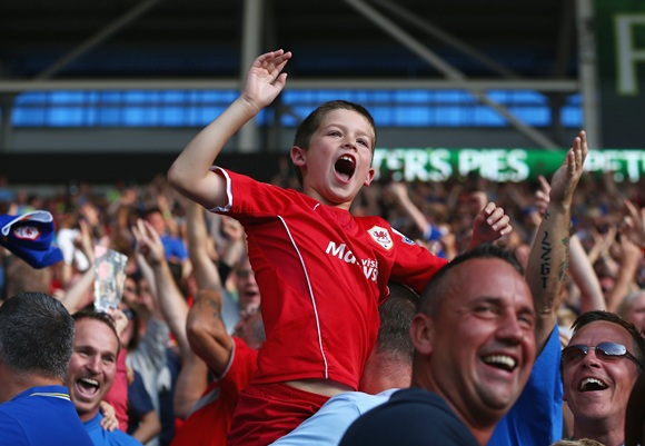 A young supporter of Cardiff City