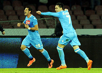 Blerim Dzemaili (L) of Napoli celebrates after scoring against Inter Milan during their Serie A match at Stadio San Paolo in Naples, Italy on Sunday