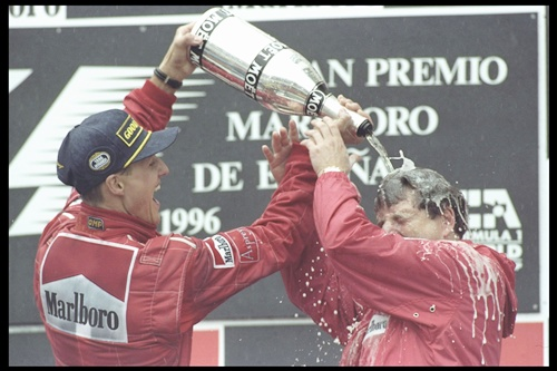 Wins first race at Ferrari in Spain
