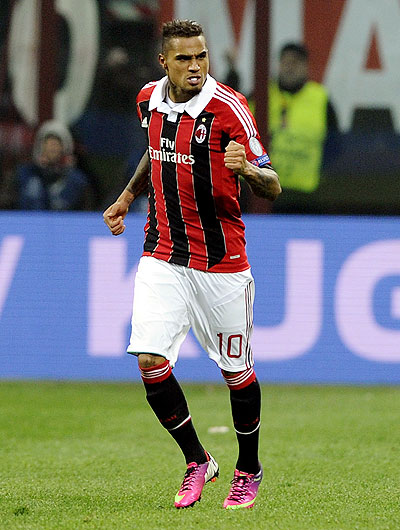 Kevin Prince Boateng of AC Milan celebrates after scoring the first goal against Barcelona on Wednesday