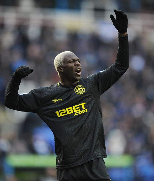 Arouna Kone of Wigan Athletic reacts