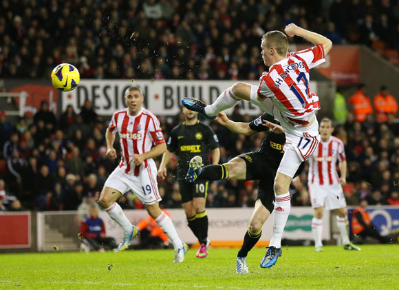 Ryan Shawcross of Stoke City scores the opening goal during the Premier League match against Wigan Athletic at the Britannia Stadium