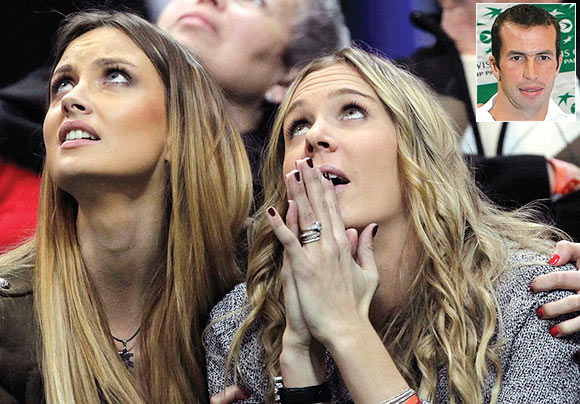 Czech Republic team player Tomas Berdych's girlfriend Ester Satorova (left) and Radek Stepanek's wife Nicole Vaidisova
