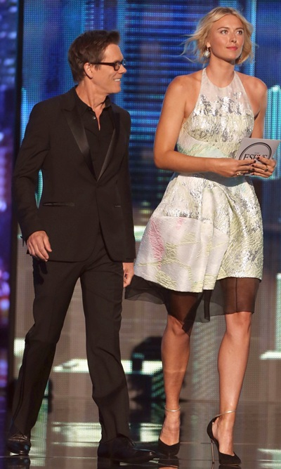 Actor Kevin Bacon and tennis player Maria Sharapova present award for Best Comeback Athlete onstage at The 2013 ESPY Awards