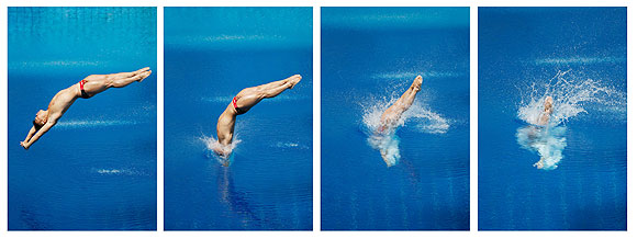 A combination photograph shows China's Li Shixin performing a dive at the men's 1m springboard final during the World Swimming Championships at the Montjuic municipal pool in Barcelona on Monday